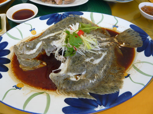 清蒸鮮魚(ヒラメ)